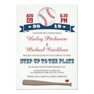 Invitaciones temáticas del boda del béisbol del invitación 12,7 x 17,8 cm