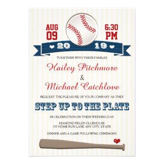 Invitaciones temáticas del boda del béisbol del je