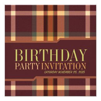 Invitaciones terrosas de la fiesta de cumpleaños d comunicado personal