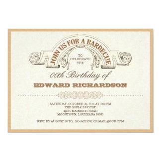 invitaciones tipográficas del vintage del fiesta invitación 12,7 x 17,8 cm