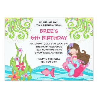 """Invitaciones triguenas del cumpleaños de la sirena invitación 5"""" x 7"""""""