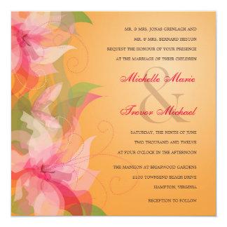 """Invitaciones tropicales de la mandarina y del boda invitación 5.25"""" x 5.25"""""""