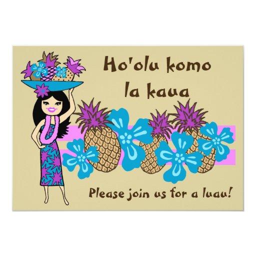 """Invitaciones tropicales de Luau de la piña Invitación 5"""" X 7"""""""