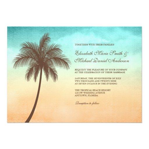 Invitaciones tropicales del boda de la palmera de  comunicado personal