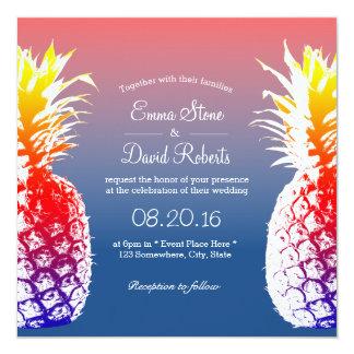 """Invitaciones tropicales del boda de la piña invitación 5.25"""" x 5.25"""""""