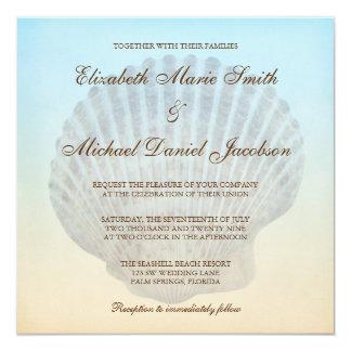 """Invitaciones tropicales del boda de playa del invitación 5.25"""" x 5.25"""""""