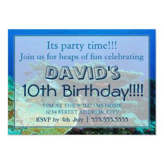 """Invitaciones tropicales del cumpleaños del mar de invitación 5"""" x 7"""""""