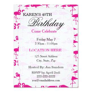 Invitaciones tropicales rosadas de la fiesta de invitación 10,8 x 13,9 cm