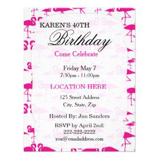 Invitaciones tropicales rosadas de la fiesta de cu