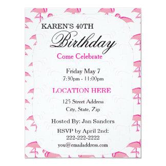 """Invitaciones tropicales rosadas de la fiesta de invitación 4.25"""" x 5.5"""""""