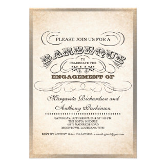 invitaciones únicas de la barbacoa de la tipografí invitación