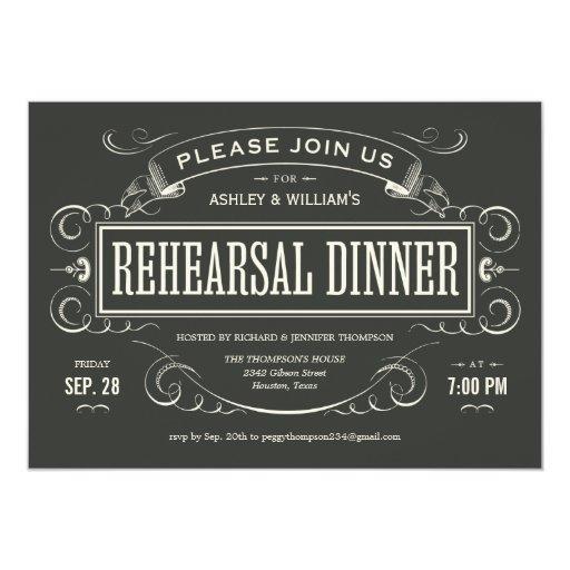 Invitaciones únicas de la cena del ensayo del invitación 12,7 x 17,8 cm