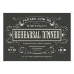 Invitaciones únicas de la cena del ensayo del vint invitaciones personalizada