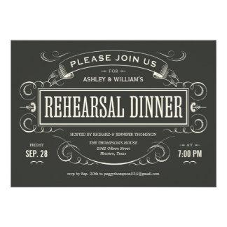 Invitaciones únicas de la cena del ensayo del vint