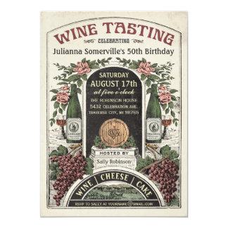"""Invitaciones v.2 de la degustación de vinos invitación 5"""" x 7"""""""