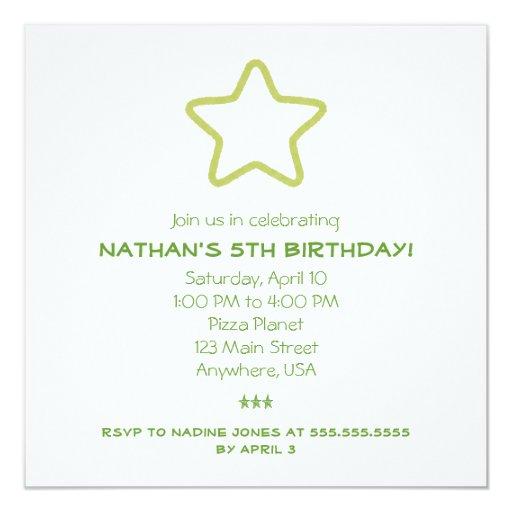 """Invitaciones verdes de la estrella invitación 5.25"""" x 5.25"""""""