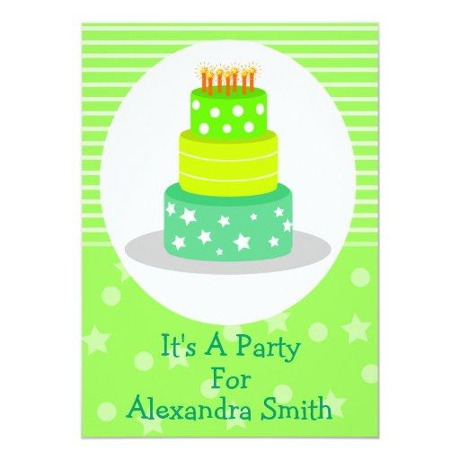 """Invitaciones verdes de la fiesta de cumpleaños de invitación 5"""" x 7"""""""