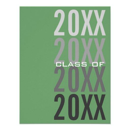 invitaciones verdes de la fiesta de graduación 20X Comunicado Personalizado