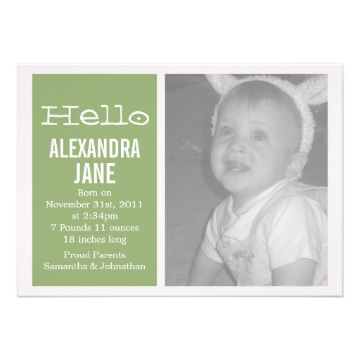 Invitaciones verdes del bebé del diseño de la foto invitacion personalizada