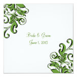 Invitaciones verdes del boda de los remolinos invitación 13,3 cm x 13,3cm