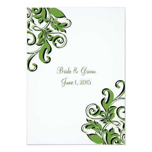 Invitaciones verdes del boda de los remolinos invitación 12,7 x 17,8 cm