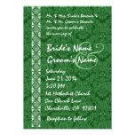 Invitaciones verdes del boda del cordón del damasc anuncio personalizado