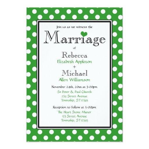 Invitaciones verdes del boda del lunar invitación 12,7 x 17,8 cm