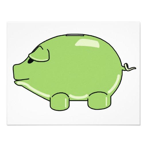 Invitaciones verdes del cerdo anuncio personalizado