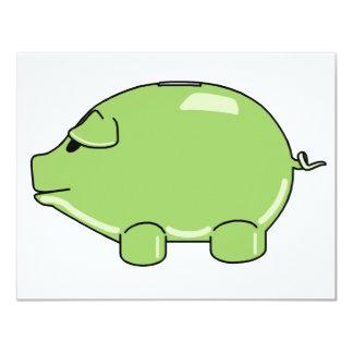 Invitaciones verdes del cerdo invitación 10,8 x 13,9 cm