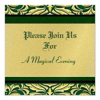 """Invitaciones verdes del día de fiesta del metal invitación 5.25"""" x 5.25"""""""