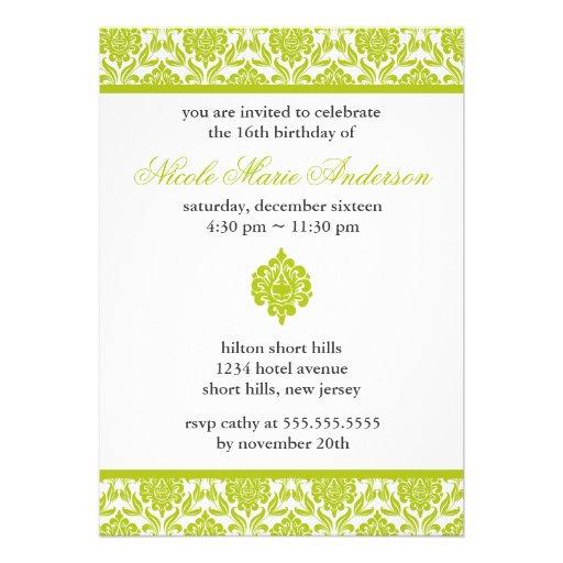 Invitaciones verdes del dulce dieciséis del damasc invitación personalizada