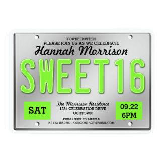 Invitaciones verdes del fiesta del dulce 16 de la invitación 12,7 x 17,8 cm