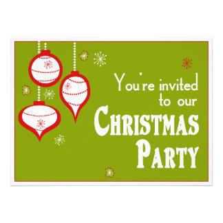 Invitaciones verdes retras del navidad comunicados personalizados