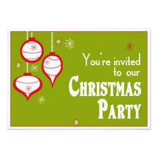 Invitaciones verdes retras del navidad comunicado personalizado