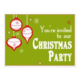 Invitaciones verdes retras del navidad invitación personalizada