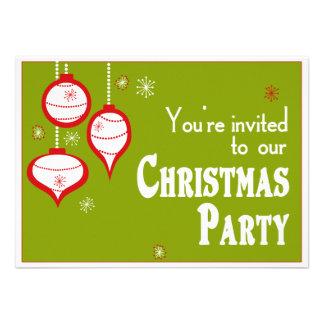 Invitaciones verdes retras del navidad anuncios