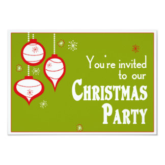 """Invitaciones verdes retras del navidad invitación 3.5"""" x 5"""""""