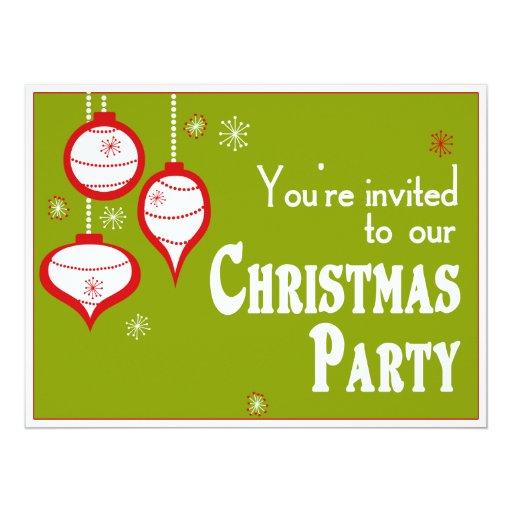 """Invitaciones verdes retras del navidad invitación 6.5"""" x 8.75"""""""