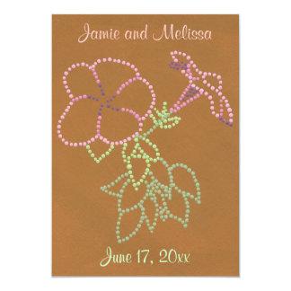 """Invitaciones verdes rosadas del boda de Brown de Invitación 5"""" X 7"""""""