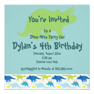 Invitaciones verdes y azules de la fiesta de anuncio personalizado
