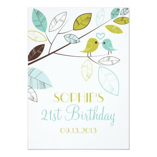 Invitaciones verdes y azules del cumpleaños de los comunicado personalizado