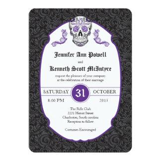 """Invitaciones violetas del boda del damasco del invitación 5"""" x 7"""""""