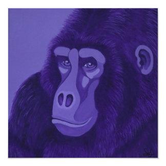 """Invitaciones violetas del gorila invitación 5.25"""" x 5.25"""""""