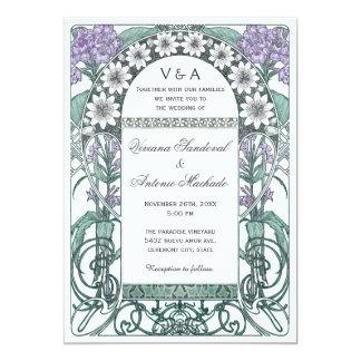 """Invitaciones violetas esmeralda del boda del invitación 5"""" x 7"""""""