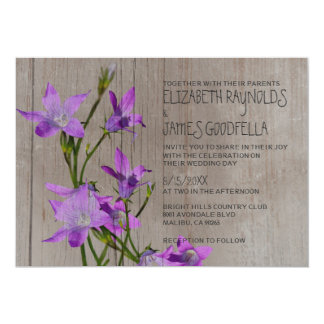 """Invitaciones violetas rústicas del boda invitación 5"""" x 7"""""""
