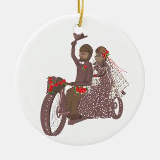 Invitaciones y productos de boda del motorista de adorno redondo de cerámica