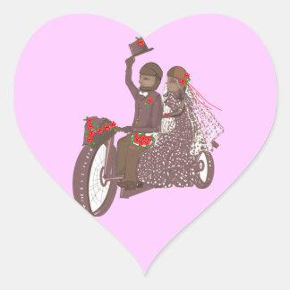 Invitaciones y productos de boda del motorista de pegatina en forma de corazón