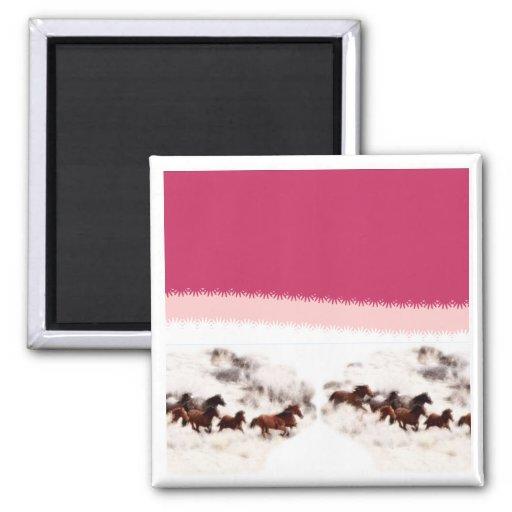 Invitaciones y tarjetas del cumpleaños del caballo imán cuadrado