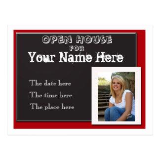 Invitati blanco y negro rojo de la casa abierta de postales