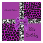 "Invitation 13th Teen Birthday Wild Purple Animal 5.25"" Square Invitation Card"